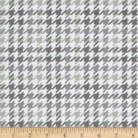 Cozy Cotton Flannel Houndstooth Grey Fabric
